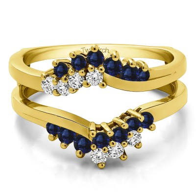 0.66 Ct. Sapphire and Diamond Bypass Chevron Ring Guard Enhancer in Yellow Gold