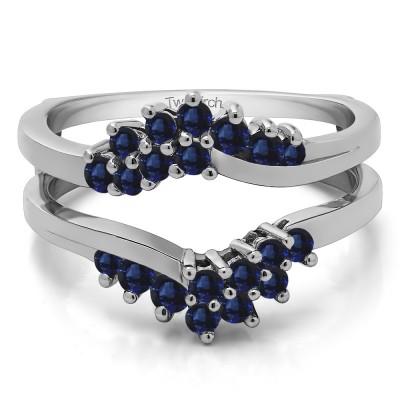 0.66 Ct. Sapphire Bypass Chevron Ring Guard Enhancer