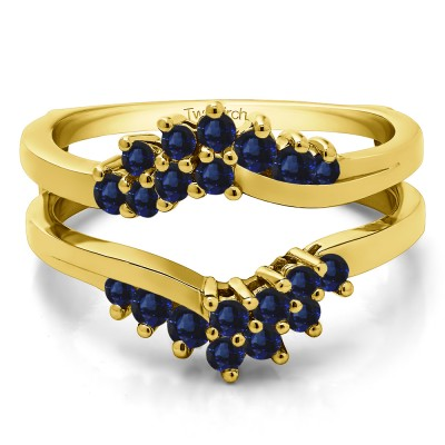 0.66 Ct. Sapphire Bypass Chevron Ring Guard Enhancer in Yellow Gold