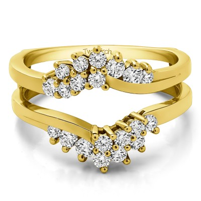 0.66 Ct. Bypass Chevron Ring Guard Enhancer in Yellow Gold