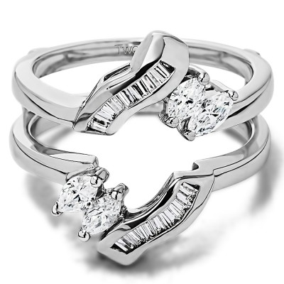 0.54 Ct. Baguette and Marquise Twist Ring Guard Enhancer