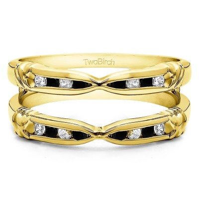0.32 Ct. Black and White Stone Channel Set Round Ring Guard Enhancer  in Yellow Gold