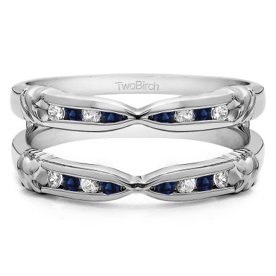 0.32 Ct. Sapphire and Diamond Channel Set Round Ring Guard Enhancer