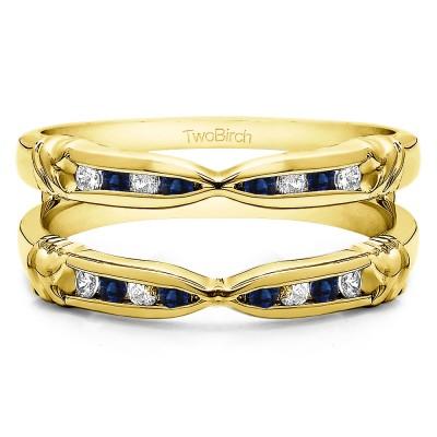 0.32 Ct. Sapphire and Diamond Channel Set Round Ring Guard Enhancer  in Yellow Gold