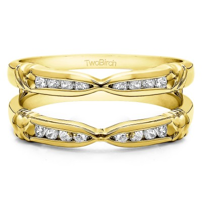 0.32 Ct. Channel Set Round Ring Guard Enhancer  in Yellow Gold
