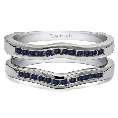 0.24 Ct. Sapphire Round Channel Set Curved Ring Guard