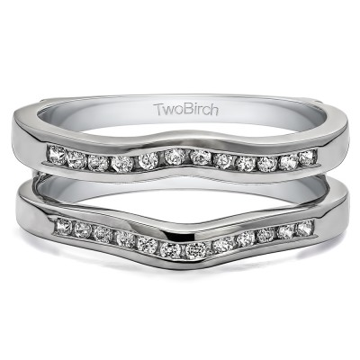 0.75 Ct. Round Channel Set Curved Ring Guard