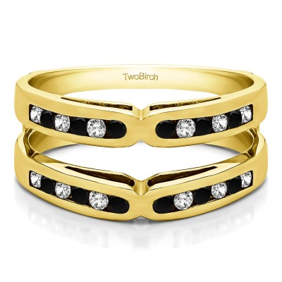 0.48 Ct. Black and White Stone Round Channel Set X Ring Guard Enhancer in Yellow Gold