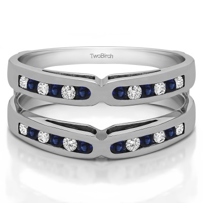 0.48 Ct. Sapphire and Diamond Round Channel Set X Ring Guard Enhancer