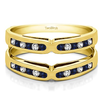 0.48 Ct. Sapphire and Diamond Round Channel Set X Ring Guard Enhancer in Yellow Gold