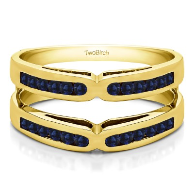 0.48 Ct. Sapphire Round Channel Set X Ring Guard Enhancer in Yellow Gold