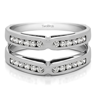 0.72 Ct. Round Channel Set X Ring Guard Enhancer