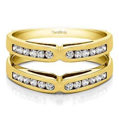 0.48 Ct. Round Channel Set X Ring Guard Enhancer in Yellow Gold