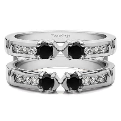 0.76 Ct. Black and White Stone Three Stone Ring Guard Enhancer