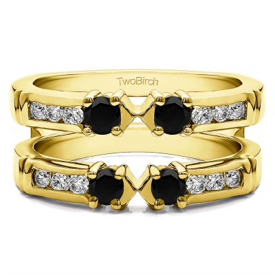 0.76 Ct. Black and White Stone Three Stone Ring Guard Enhancer in Yellow Gold