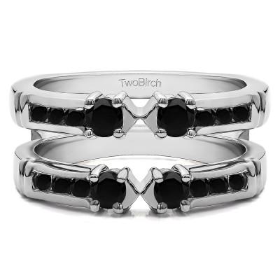 0.76 Ct. Black Stone Three Stone Ring Guard Enhancer