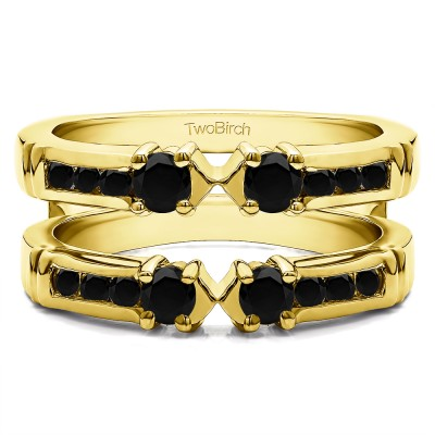 0.76 Ct. Black Stone Three Stone Ring Guard Enhancer in Yellow Gold