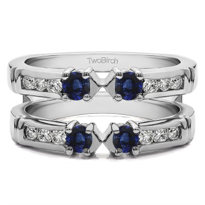 0.76 Ct. Sapphire and Diamond Three Stone Ring Guard Enhancer