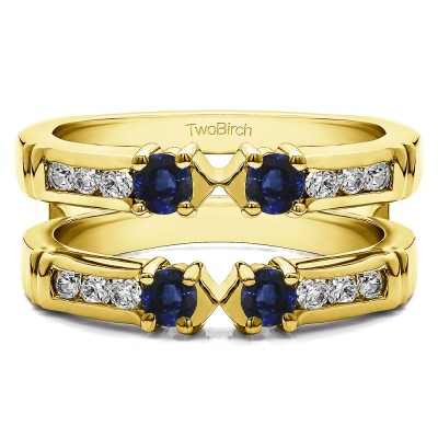 0.76 Ct. Sapphire and Diamond Three Stone Ring Guard Enhancer in Yellow Gold