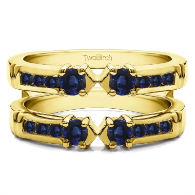 0.76 Ct. Sapphire Three Stone Ring Guard Enhancer in Yellow Gold