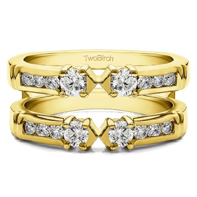 0.76 Ct. Three Stone Ring Guard Enhancer in Yellow Gold