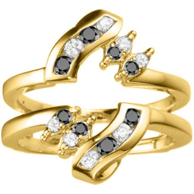 0.36 Ct. Black and White Stone Round Twist Ring Guard in Yellow Gold