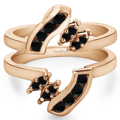 0.36 Ct. Black Stone Round Twist Ring Guard in Rose Gold
