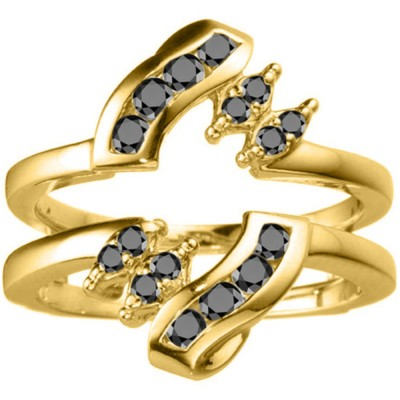 0.36 Ct. Black Stone Round Twist Ring Guard in Yellow Gold