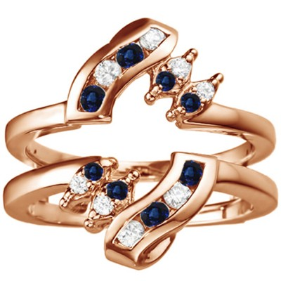 0.36 Ct. Sapphire and Diamond Round Twist Ring Guard in Rose Gold