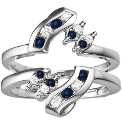0.36 Ct. Sapphire and Diamond Round Twist Ring Guard