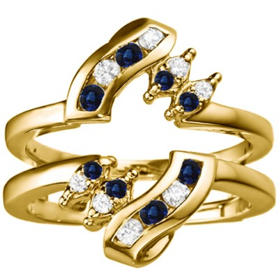 0.36 Ct. Sapphire and Diamond Round Twist Ring Guard in Yellow Gold