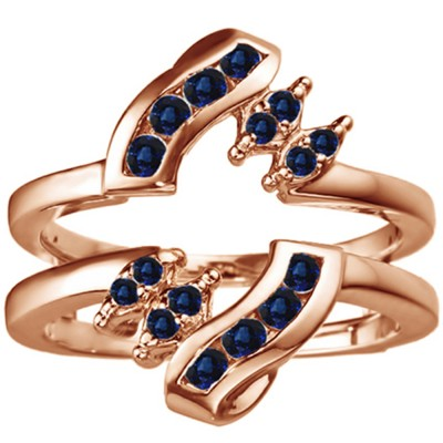 0.36 Ct. Sapphire Round Twist Ring Guard in Rose Gold