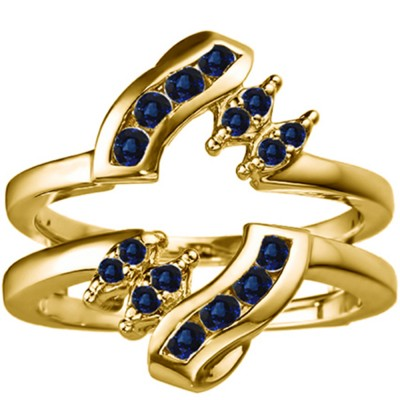 0.36 Ct. Sapphire Round Twist Ring Guard in Yellow Gold