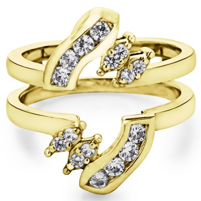 0.36 Ct. Round Twist Ring Guard in Yellow Gold