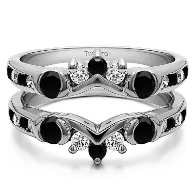 1.01 Ct. Black and White Stone Half Halo Prong and Channel Set Ring Guard
