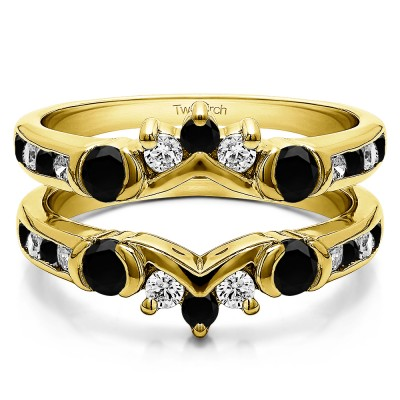 1.01 Ct. Black and White Stone Half Halo Prong and Channel Set Ring Guard in Yellow Gold