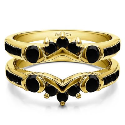 1.01 Ct. Black Stone Half Halo Prong and Channel Set Ring Guard in Yellow Gold