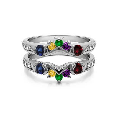 Genuine Birthstone Half Halo Classic Style Ring Guard(1 Carat)