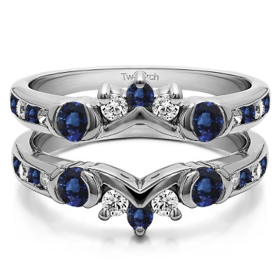 1.01 Ct. Sapphire and Diamond Half Halo Prong and Channel Set Ring Guard