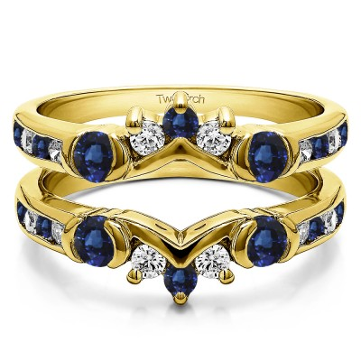 1.01 Ct. Sapphire and Diamond Half Halo Prong and Channel Set Ring Guard in Yellow Gold