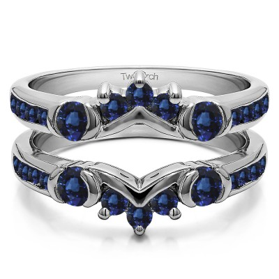 1.01 Ct. Sapphire Half Halo Prong and Channel Set Ring Guard