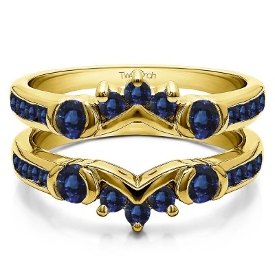 1.01 Ct. Sapphire Half Halo Prong and Channel Set Ring Guard in Yellow Gold