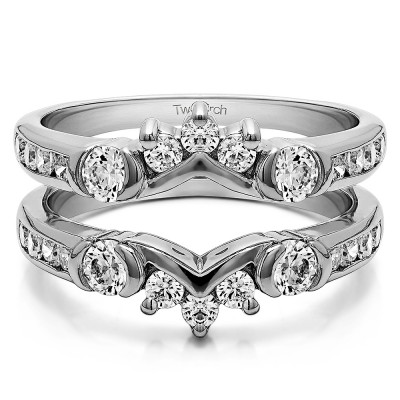 1.01 Ct. Half Halo Prong and Channel Set Ring Guard