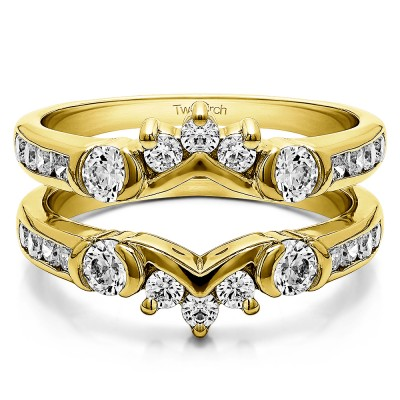 1.01 Ct. Half Halo Prong and Channel Set Ring Guard in Yellow Gold