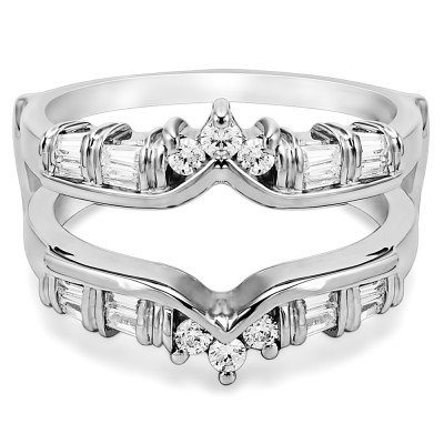 0.7 Ct. Baguette and Round Bar Set Chevron Ring Guard