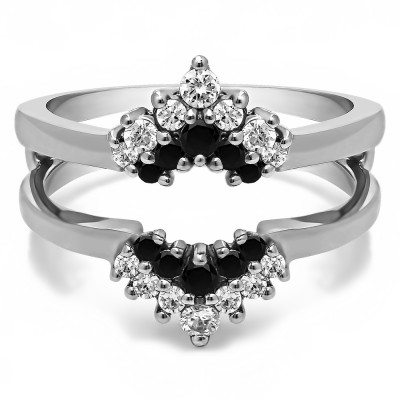 0.37 Ct. Black and White Stone Double Row Round Prong Set Ring Guard
