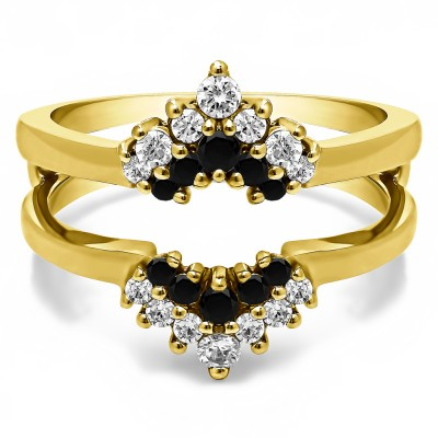 0.37 Ct. Black and White Stone Double Row Round Prong Set Ring Guard in Yellow Gold