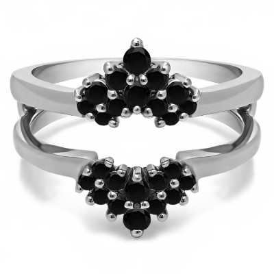 0.37 Ct. Black Stone Double Row Round Prong Set Ring Guard