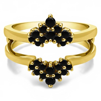 0.37 Ct. Black Stone Double Row Round Prong Set Ring Guard in Yellow Gold