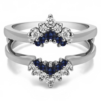 0.37 Ct. Sapphire and Diamond Double Row Round Prong Set Ring Guard